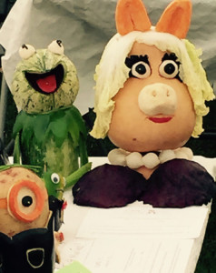 Kermit & Ms Piggy made from vegetables