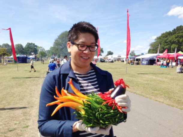 Chicken made from chilies and aubergine at Lambeth Country Show 2015