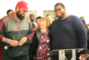 Brixton Soup Kitchen founders Mahamed Hashi (left) and Solomon Smith with Tessa Jowell (centre)