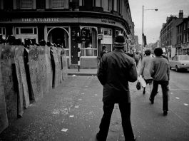 "April1981: Police form a barricade across Railton Road outside the Atlantic, now the Dogstar. PICTURE: ""1981 Brixton Riots"" by Kim Aldis. Licensed under CC."