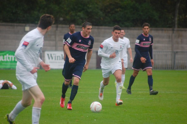Dulwich Hamlet skipper Danny Waldren in action against Brentwood Town (Photo: Sandra Brobbey for Brixton Blog)