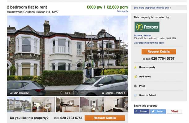 Advert for flat let