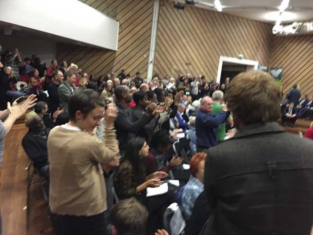 Audience applauding