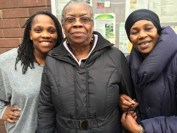 Hazel Turay (centre) with Desica Benjamin and Tracey-Ann Munroe