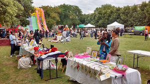 Market traders at the Community Trade Fair held in Angell Town on August 15