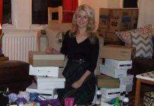 Clare with items collected for Project Shoebox
