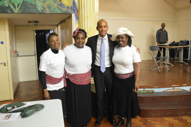 "MP Chuka Umunna with volunteers who performed the play ""Linstead Market"""
