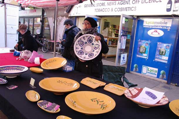 Chrissy Makhlouf selling her pottery