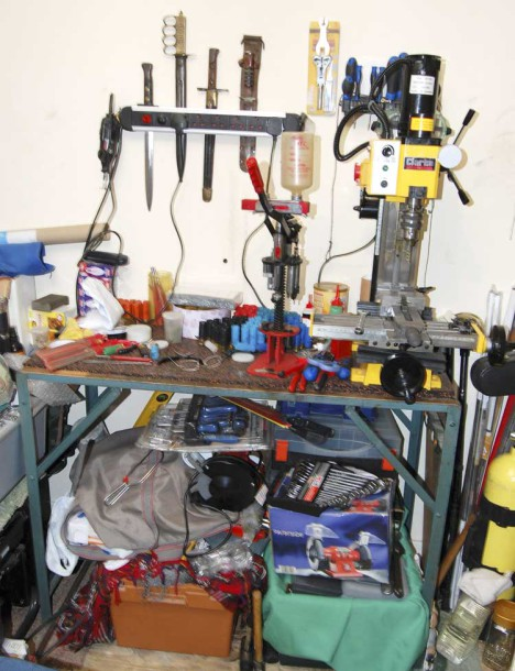 Police photograph of the workshop at Harry McGuire's Brixton home