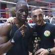 Boxer Winner: Nyesco Okpako with trainer Bobby Miltiadous
