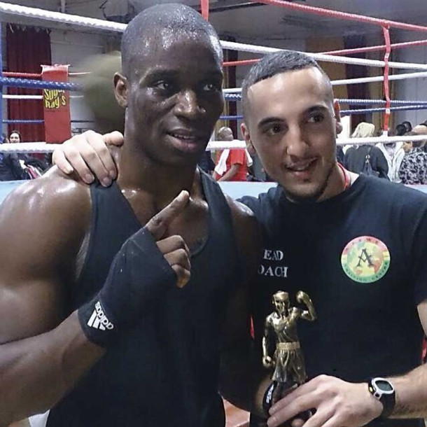 Boxer Winner: Nyesco Okpako with trainer Bobby Miltiadous