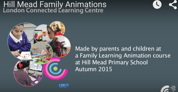 Screen grab of film introduction to Hill Mead school animation films