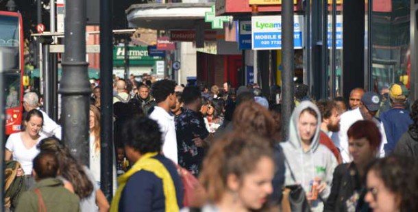 Crowds at entrance to Brixton village