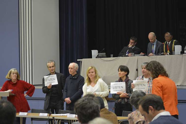Campaigners listen as Cllr Jane Edbrooke (in orange) addresses the meeting