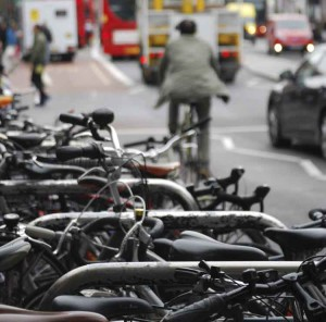 Cyclist in traffic