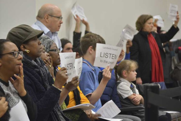 Library campaigners at the council meeting on 18 November