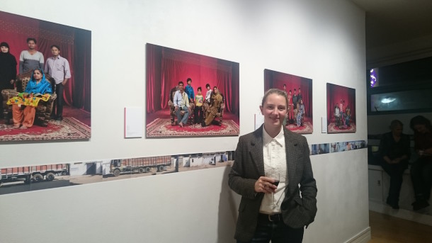 Photographer Francesca Moore with her work