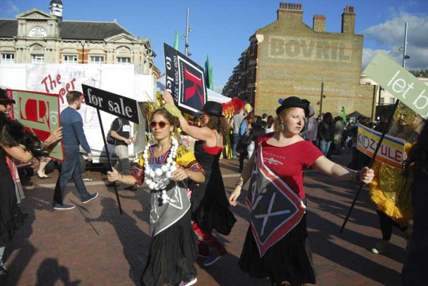 Anti-gentrification protesters in Brixton