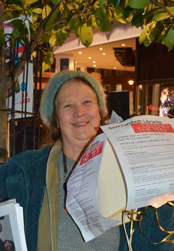 Libraries campaigner and Effra Blogger Marilyn Rogers made sure the issue of the day was not overlooked