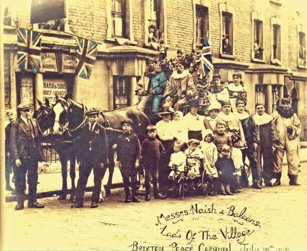 Celebrating peace in Railton Road outside the Naish family shop in 1919