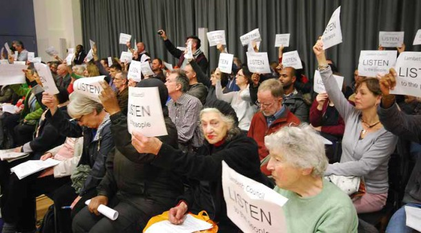 Library protesters at a Lambeth council meeting