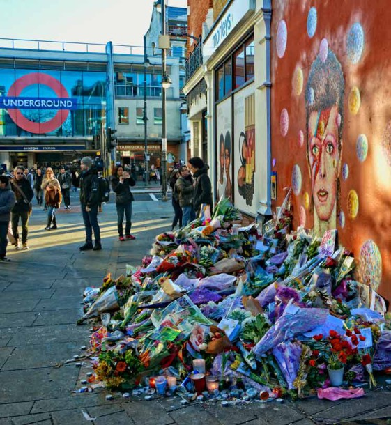 Bowie mural becomes memorial as flowers are left by fans