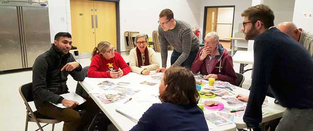 Residents and parents discussing the plans in January this year