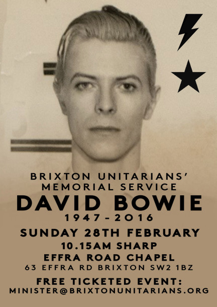 Poster inviting public to celebrate the life of David Bowie at Effra Chapel