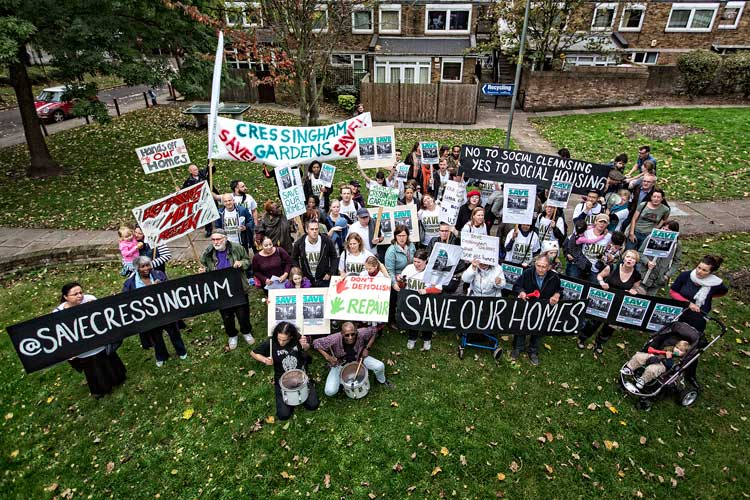 Save Cressingham Gardens campaigns with placards