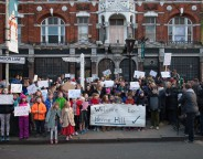 Residents protest outside the Half Moon Pub in Herne Hill