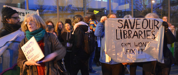 Protesters at a Lambeth council cabinet meeting