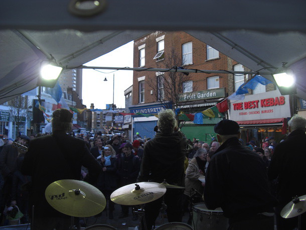 O'Connell and Love perform to a crowd in Herne Hill