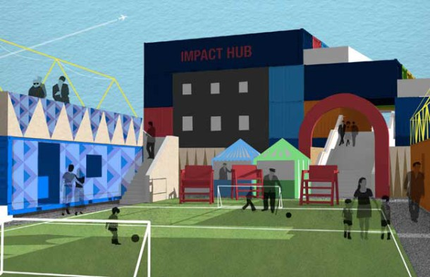 Architect drawing of new sports site at Pop Brixton