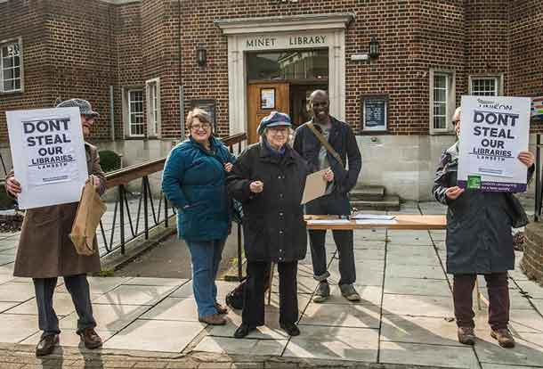 Protesters outside the Minet Library
