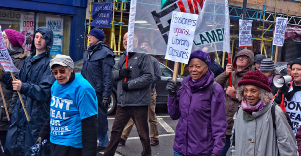 Libraries protesters in Brixton