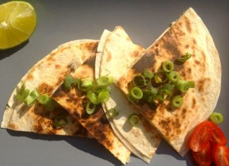 salt fish piri piri quesadillas
