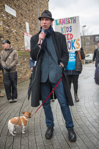 Will Self and Maglorian at the end of the march in South Lambeth