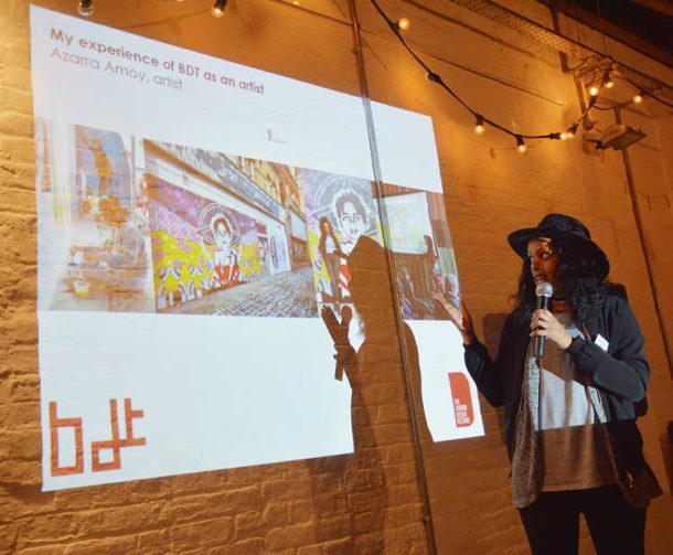 Artist Azarra Amoy at the launch in Brixton East
