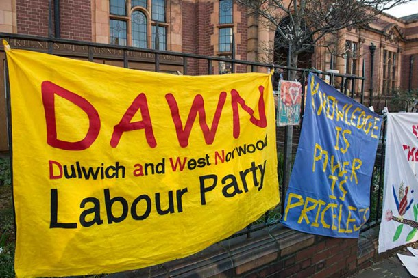 Dulwich and West Norwood Labour party banner outside the occupied Carnegie library in Herne Hill