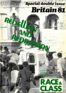 Reproduced with kind permission of Black Cultural Archives. Rebellions and Repression: Race and Class – a series publications that documented Race Relations in UK. Published by the Institute of Race Relations, 1981.