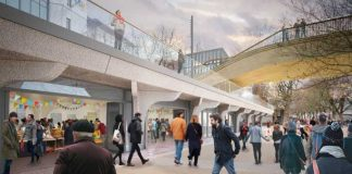 Artist' impression of the proposed south landing building of the Garden Bridge