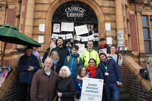 Striking junior hospital doctors outside the Carnegie