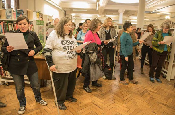 Inside the occupation of Carnegie library