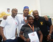 Former world heavyweight champion Tim Witherspoon pictured with Lambeth Boxing Awards winner Shanakaye (aged 9) and Dwaynamics coaches.