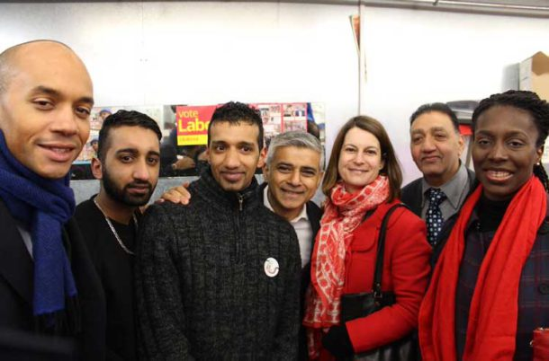 Florence Eshalomi campaigning in Brixton Market last month with new London mayor Sadiq Khan and MPsChuka Umunna and Helen Hayes