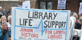 Libraries and Cressingham Gardens campaigners joined forces outside a Lambeth council cabinet meeting earlier this year