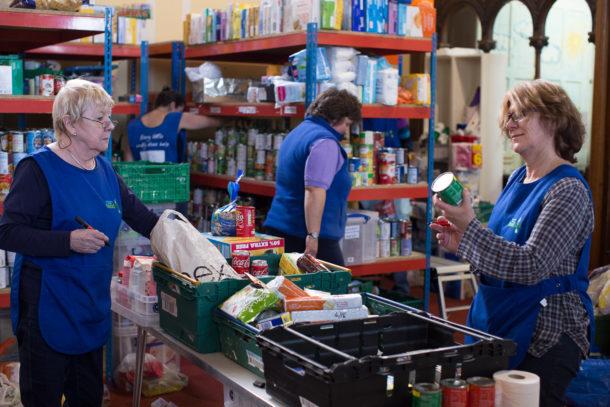 Volunteer packing for FoodBank