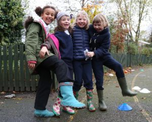 St Jude's pupils in their wellies