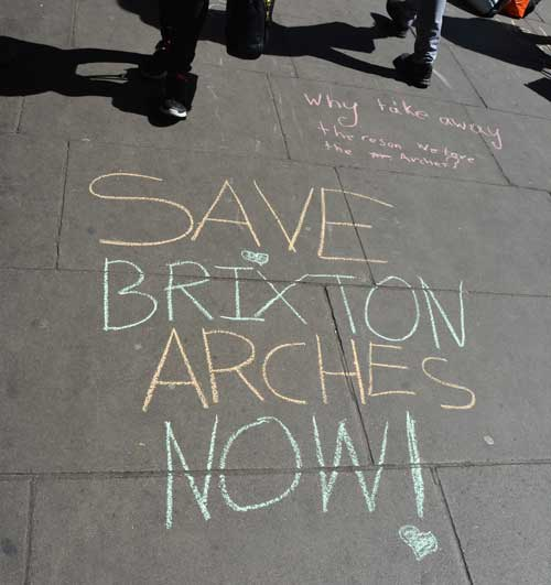 Save Brixton Arches chalked slogan
