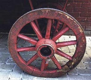 Wheel of a market barrow